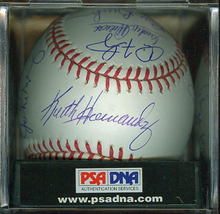 BILL BILLY BUCKS BUCKNER - AUTOGRAPHED SIGNED BASEBALL CO-SIGNED BY: KEITH MEX HERNANDEZ, CARLOS MAY, JOE PEPI PEPITONE, JIMMY PIERSALL, SANDY ALOMAR JR.