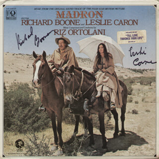 MADRON MOVIE CAST - RECORD ALBUM COVER SIGNED CO-SIGNED BY: LESLIE CARON, RICHARD BOONE
