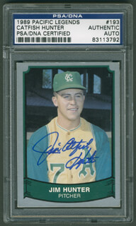 JIM CATFISH HUNTER - TRADING/SPORTS CARD SIGNED