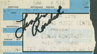 LINDA RONSTADT - TICKET SIGNED CIRCA 1990