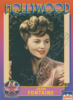 Autographs: JOAN FONTAINE - TRADING/SPORTS CARD SIGNED