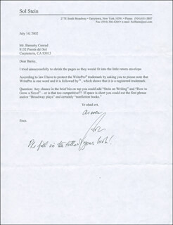 SOL STEIN - TYPED LETTER SIGNED 07/14/2002