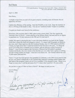 SOL STEIN - TYPED LETTER SIGNED 04/12/2002