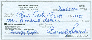 Autographs: BARNABY CONRAD - CHECK SIGNED & ENDORSED 03/06/2002 CO-SIGNED BY: CHERIE CARTER-SCOTT