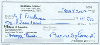 Autographs: BARNABY CONRAD - CHECK SIGNED & ENDORSED 03/04/2002 CO-SIGNED BY: JERROLD F. FREEDMAN
