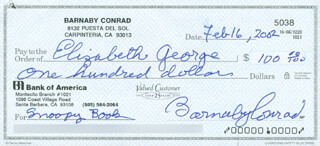 Autographs: BARNABY CONRAD - CHECK SIGNED & ENDORSED 02/16/2002 CO-SIGNED BY: ELIZABETH GEORGE