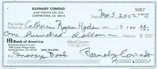 BARNABY CONRAD - AUTOGRAPHED SIGNED CHECK 03/03/2002