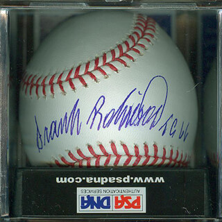 FRANK ROBINSON - ANNOTATED BASEBALL SIGNED