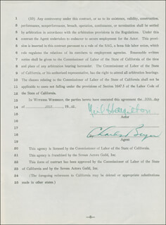 NEIL HAMILTON - CONTRACT DOUBLE SIGNED 07/30/1943 CO-SIGNED BY: CHARLES BEYER
