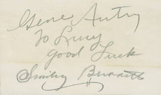 Autographs: SMILEY (LESTER) BURNETTE - AUTOGRAPH NOTE SIGNED CO-SIGNED BY: GENE AUTRY