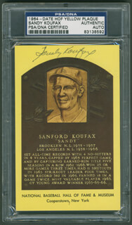 SANDY KOUFAX - BASEBALL HALL OF FAME PLAQUE POSTCARD SIGNED