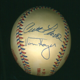 CURT FLOOD - AUTOGRAPHED SIGNED BASEBALL CO-SIGNED BY: VON HAYES, ENOS SLAUGHTER, TONY TAYLOR