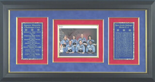 SPACE SHUTTLE CHALLENGER - STS - 51L CREW - AUTOGRAPHED INSCRIBED PHOTOGRAPH CO-SIGNED BY: LT. COLONEL ELLISON S. EL ONIZUKA, GREG JARVIS, RONALD E. McNAIR, LT. COLONEL DICK (FRANCIS R.) SCOBEE, CHRISTA McAULIFFE, JUDITH A. JUDY RESNIK, CAPTAIN MICHAEL J. SMITH