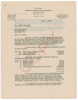 ORSON WELLES - DOCUMENT SIGNED 04/02/1946 CO-SIGNED BY: ARNOLD M. GRANT