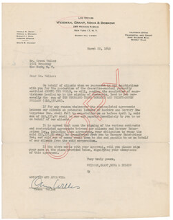 ORSON WELLES - DOCUMENT SIGNED 03/22/1946