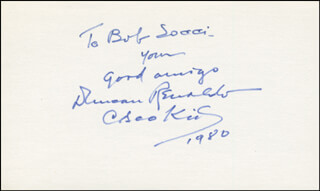 DUNCAN THE CISCO KID RENALDO - AUTOGRAPH NOTE SIGNED 1980