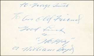 Autographs: WILLIAM HOPPY BOYD - AUTOGRAPH NOTE SIGNED