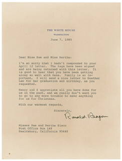 PRESIDENT RONALD REAGAN - TYPED LETTER SIGNED 06/07/1985