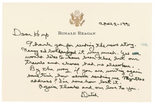 PRESIDENT RONALD REAGAN - AUTOGRAPH LETTER SIGNED 04/02/1991