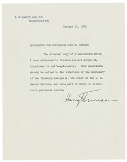 PRESIDENT HARRY S TRUMAN - TYPED MANUSCRIPT SIGNED 01/12/1953