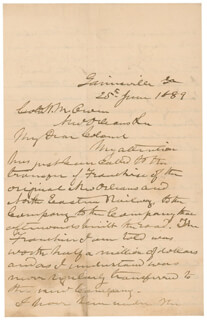 LT. GENERAL JAMES LEE'S WAR HORSE LONGSTREET - AUTOGRAPH LETTER SIGNED 06/25/1889