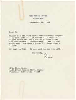PRESIDENT RONALD REAGAN - TYPED LETTER SIGNED 09/28/1983