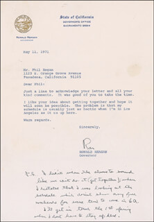 PRESIDENT RONALD REAGAN - TYPED LETTER SIGNED 05/11/1971