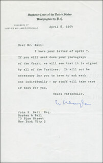 Autographs: ASSOCIATE JUSTICE WILLIAM O. DOUGLAS - TYPED LETTER SIGNED 04/08/1964