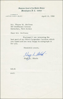 ASSOCIATE JUSTICE HUGO L. BLACK - TYPED LETTER SIGNED 04/12/1968