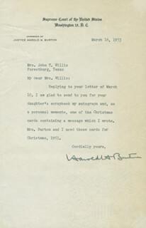 Autographs: ASSOCIATE JUSTICE HAROLD H. BURTON - TYPED LETTER SIGNED 03/16/1953