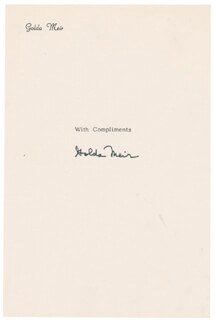 Autographs: PRIME MINISTER GOLDA MEIR (ISRAEL) - SIGNATURE(S)