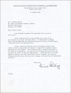 Autographs: LINUS PAULING - TYPED LETTER SIGNED 08/17/1983