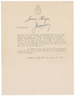 PRESIDENT JUAN D. PERON (ARGENTINA) - TYPED LETTER SIGNED 01/30/1947