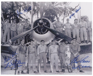 Autographs: BLACK SHEEP SQUADRON - PHOTOGRAPH SIGNED CO-SIGNED BY: LT. COLONEL JAMES J. HILL, COLONEL EDWIN A. HARPER, LT. COLONEL THOMAS EMRICH, GLEN BOWERS, RUSTY MARCH, HERBERT HOLDEN, FRED LOSCH