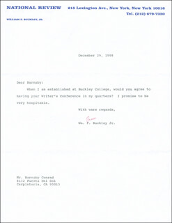 WILLIAM F. BUCKLEY JR. - TYPED LETTER SIGNED 12/29/1998