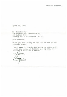 GEORGE PEPPARD - TYPED LETTER SIGNED 04/10/1980