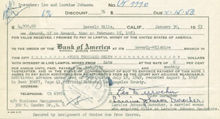 LEO DUROCHER - PROMISSORY NOTE SIGNED 01/30/1953 CO-SIGNED BY: LARAINE DAY