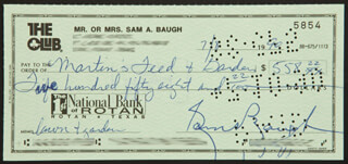 SAMMY BAUGH - AUTOGRAPHED SIGNED CHECK 07/08/1990