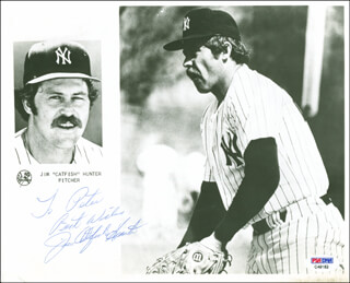 JIM CATFISH HUNTER - AUTOGRAPHED INSCRIBED PHOTOGRAPH
