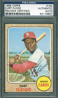 CURT FLOOD - TRADING/SPORTS CARD SIGNED