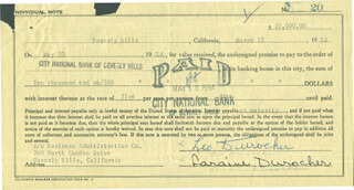 LEO DUROCHER - PROMISSORY NOTE SIGNED 03/17/1954 CO-SIGNED BY: LARAINE DAY