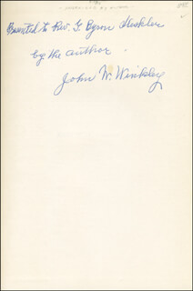 JOHN W. WINKLEY - INSCRIBED BOOK SIGNED