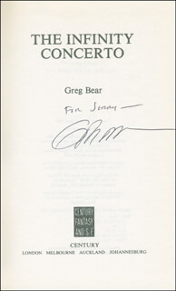 Autographs: GREG BEAR - INSCRIBED BOOK SIGNED