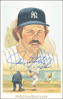 JIM CATFISH HUNTER - PICTURE POST CARD SIGNED