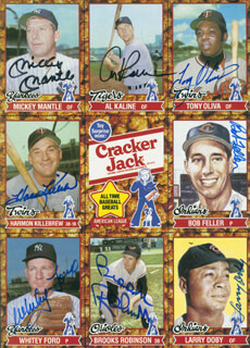 Autographs: MICKEY MANTLE - TRADING/SPORTS CARD SIGNED CO-SIGNED BY: HARMON KILLEBREW, TONY OLIVA, LARRY DOBY, BOB FELLER, WHITEY FORD, BROOKS ROBINSON, AL MR. TIGER KALINE