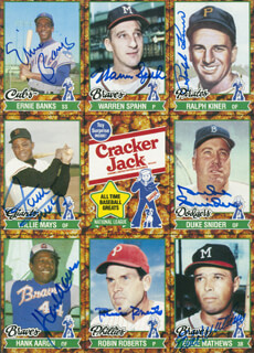 Autographs: WILLIE SAY HEY KID MAYS - TRADING/SPORTS CARD SIGNED CO-SIGNED BY: ERNIE MR. CUB BANKS, HANK AARON, WARREN SPAHN, RALPH KINER, EDDIE MATHEWS, ROBIN ROBERTS, DUKE SNIDER