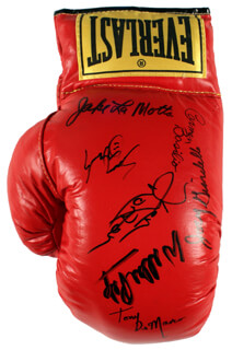 KEN NORTON - BOXING GLOVE SIGNED CO-SIGNED BY: JAKE THE RAGING BULL LA MOTTA, CARMEN BASILIO, SEAN O'GRADY, WILLIE WILL O' THE WISP PEP, JOEY GIARDELLO, TONY DEMARCO