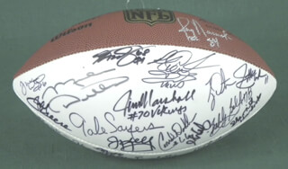 GALE SAYERS - FOOTBALL SIGNED CO-SIGNED BY: LEN DAWSON, TONY DORSETT, MIKE DITKA, ED TOO TALL JONES, JOE MEAN JOE GREENE, MARV FLEMING, HOWIE M. LONG, JACKIE SLATER, DARYL JOHNSTON, LEROY KELLY, CHUCK FOREMAN, DON MAYNARD, RON JAWS JAWORSKI, DWIGHT CLARK, JIM KELLY, STEVE LARGENT, BOBBY BELL, CARL ELLER, MEL RENFRO, CONRAD DOBLER, JIM MARSHALL, FRED BILETNIKOFF, MICHAEL IRVIN, KELLEN WINSLOW, SR., MERCURY (EUGENE) MORRIS, TYRONE WHEATLEY, JIM GRAY, KYLE TURLEY, SHERRILL HEADRICK, THOMAS HOLLYWOOD HENDERSON, BOB COSTAS, ANDRE REED, NICK LOWERY