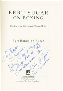 BERT SUGAR - INSCRIBED BOOK SIGNED 01/14/2004