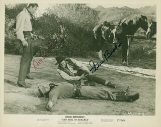 GUN DUEL IN DURANGO MOVIE CAST - PRINTED PHOTOGRAPH SIGNED IN INK CO-SIGNED BY: DON RED BARRY, STEVE BRODIE